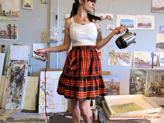 the perfect hostess. orange & black plaid vintage apron