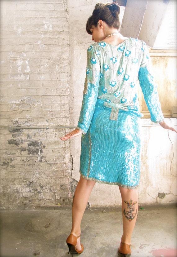 Reserved erostamabadi. sea foam silk and sequined shift dress. 60s soirée. aqua floral.