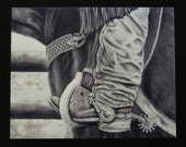 """Country Western Art print. Black and white pencil drawing """"Branding Day"""". Signed glossy print."""