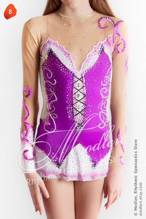 Rhythmic Gymnastics Leotard #8 for Competition   Order as Ice Figure Skating Dress, Acrobatic Gymnastics Costume or Baton Twirling Leotard