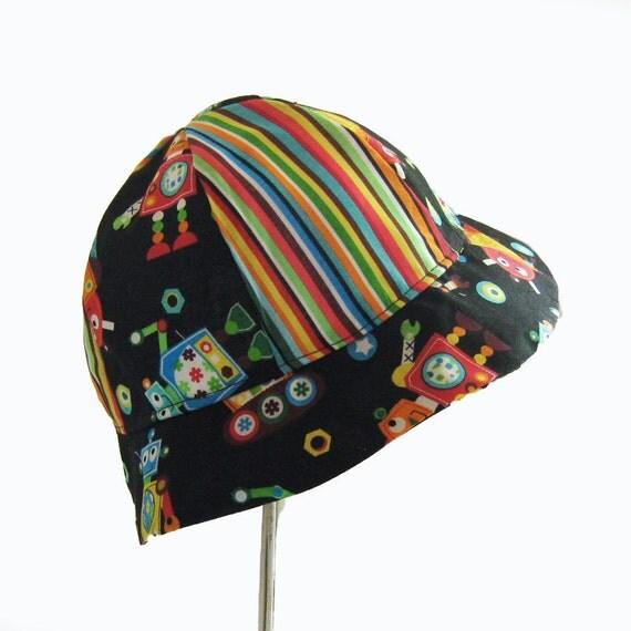 Preschool Boys Robot Bucket Sun Hat Striped Black Green Yellow