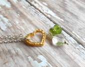 Green Light And Love.  Peridot Gemstone Energy Necklace.