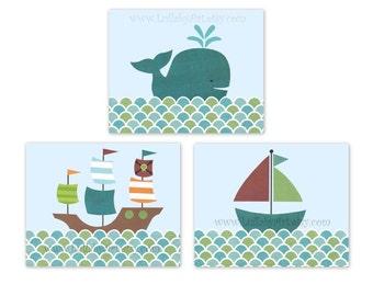 Perfect trio of prints: nursery, children's or bathroom artwork- sailboat, nautical, pirate ship, whale, ocean - set of 3