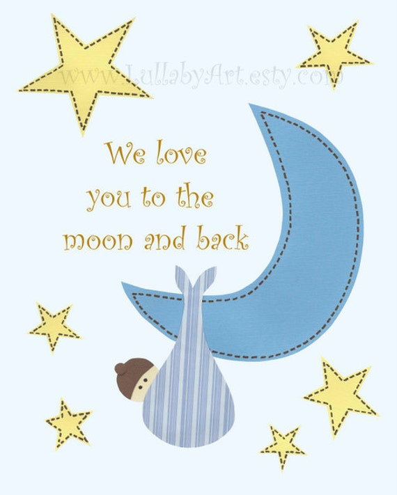 I Miss You To The Moon And Back Quotes: Items Similar To We Love You To The Moon And Back