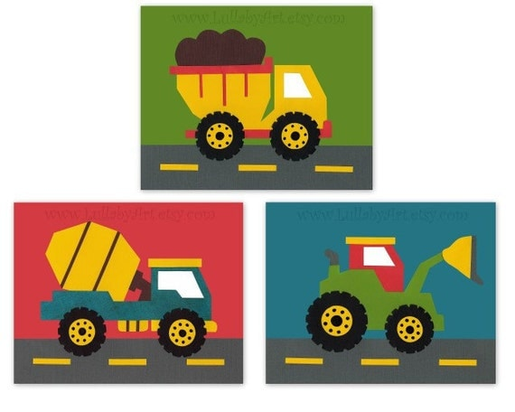 Reserved for Cindi construction theme, truck, tractor, blue, green, red, transportation, cars, set of 3, Nursery or children's room artwork