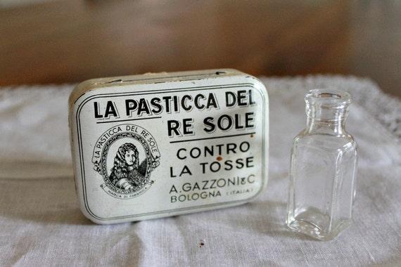 Vintage Italian Tin and Vintage Bottle