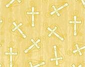 1 yard windham INSPIRATIONS  100% cotton quilt fabric 33430-1 cream crosses on gold cross Christian