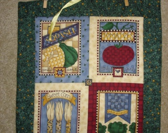 FREE SHIP --Vegetable seed pack quilted wall hanging Debbie Mumm fabric with hanger