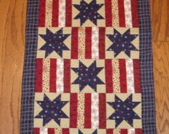 INSTRUCTIONS ONLY -Stars and Stripes Patriotic quilted table runner pattern Summer June Year one