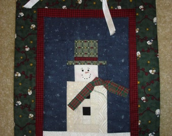 Log Cabin snowman quilted Christmas wall hanging with hanger