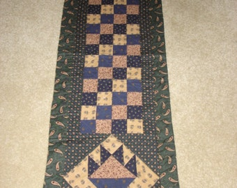 May BASKETS and SQUARES quilted table runner measures 15 by 56 inches free shipping in the USA