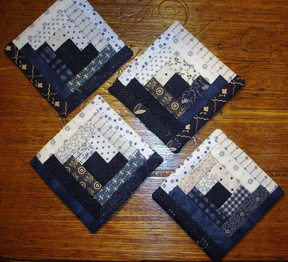 Set of 4 blue white coasters log cabin quilted