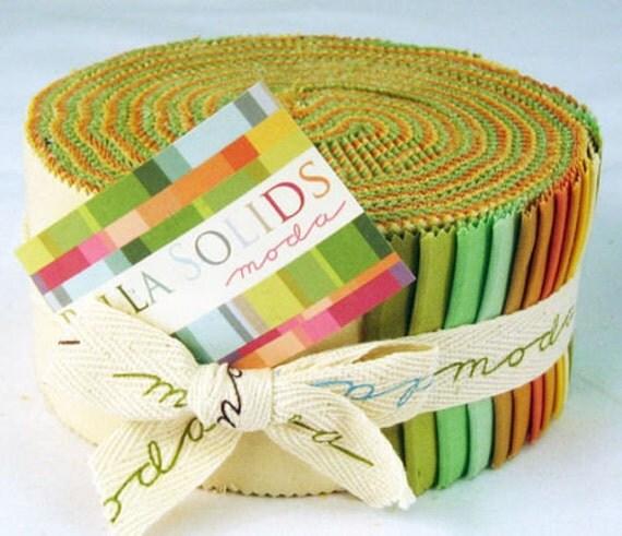Bella WARM  Solids  Moda Jelly Roll fabric 40 2.5 inch strips