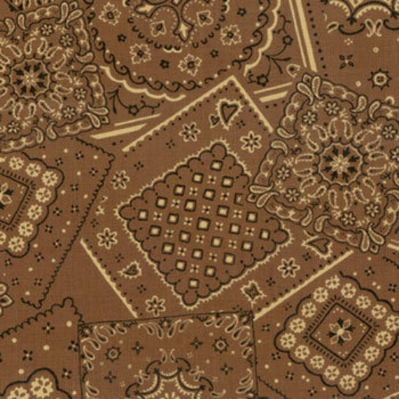 Bunk House Brown Bandana Moda by the  half yard cotton quilt fabric