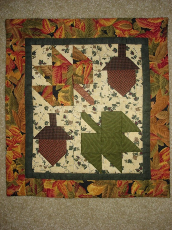 Acorn and maple Leaf Fall quilted wall hanging quilt moda fabric