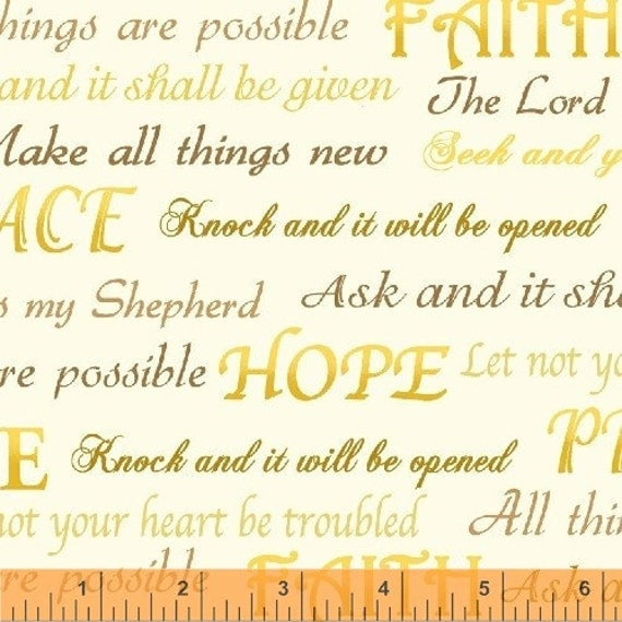 1 yard windham INSPIRATIONS  100% cotton quilt fabric 33428-1 Christian gold words on cream