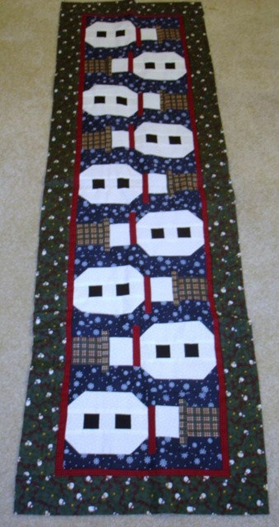 TOPSY TURVY SNOWMEN Christmas quilted table runner pattern WInter January Year two