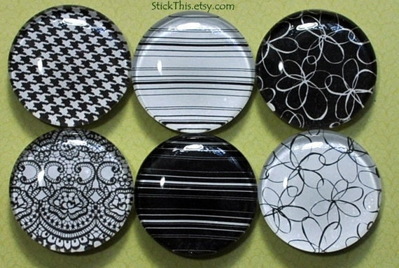 Black and White Fridge Magnets, Set of Six 1 Inch Glass Kitchen Magnets, Stripe, Lace, Flowers