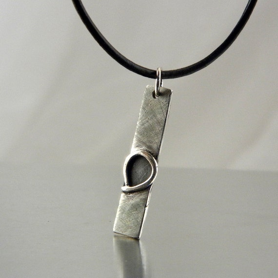 SALE...Fine Line Silver Jewelry with Black Leather Necklace For Men or Women