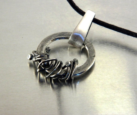 Reserved for Bec - Fine Silver Ring Jewelry on Black Cotton Necklace for Men or Women