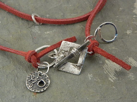 Red Leather Necklace on Toggle Claps Fine Silver Jewelry for Women