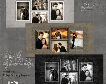 Storyboard Collage Photoshop Templates - CLASSY CHIC Storyboard Collection - 10x20 templates