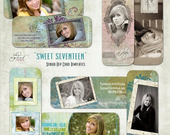 "Senior Rep Card Templates / Millers/ Mpixpro Lab - ""SWEET SEVENTEEN""  - Photoshop templates for Photographers"