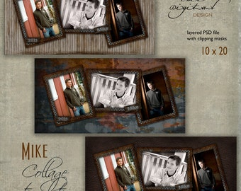 """10 x 20 Senior COLLAGE TEMPLATE - """"Mike"""" - 10x20 photo collage storyboard template for High School Senior"""