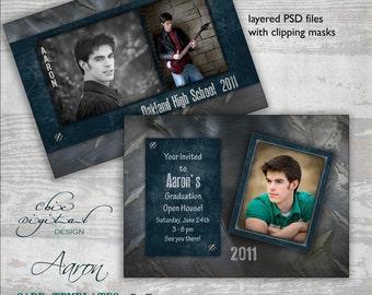 Graduation Announcement Card Template for Photographers - 5x7 Guys Senior Graduation Invitation - AARON