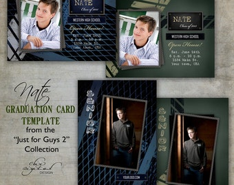 """Graduation Announcement Card Template for photographers / Just for Guys 2 - """"NATE"""" / Millers/Mpix & WHCC specs"""