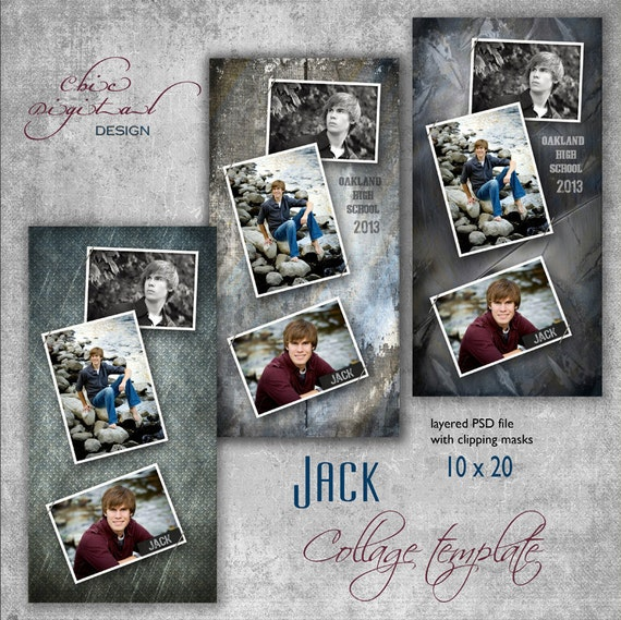 """10 x 20 Senior COLLAGE TEMPLATE - """"Jack' - 10x20 photo collage storyboard template for High School Senior"""