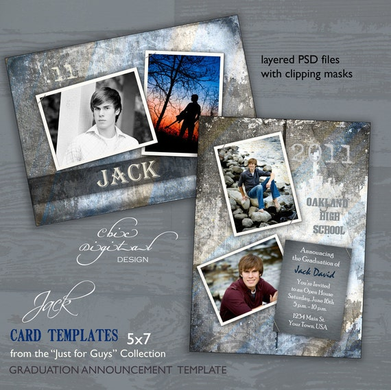 graduation announcement card template for photographers just