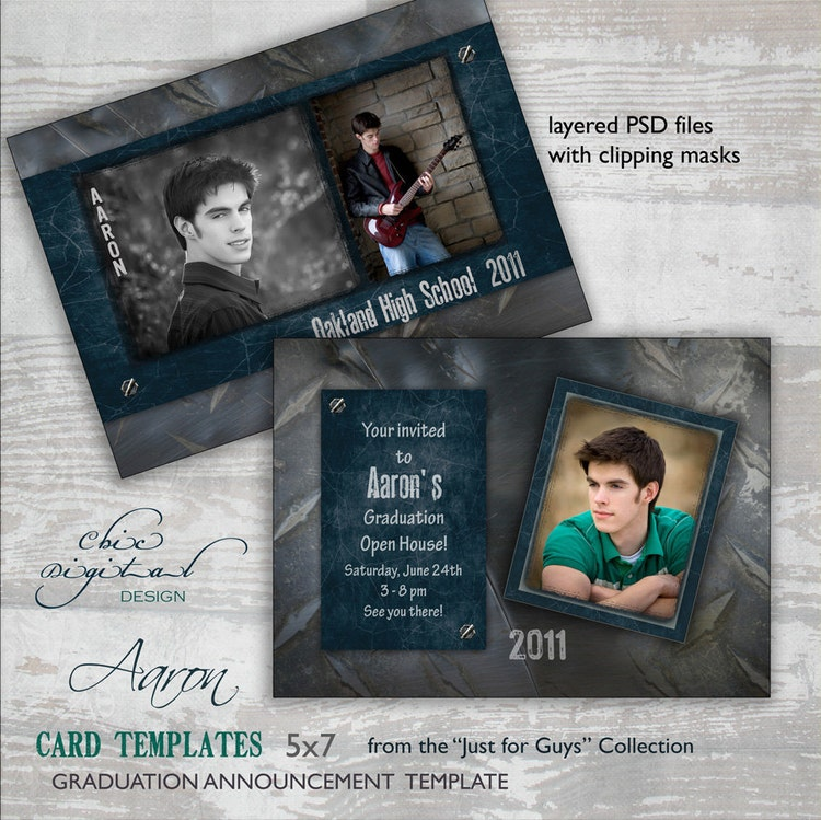 Graduation announcement card template for by chicdigitaldesign for Senior announcement templates free