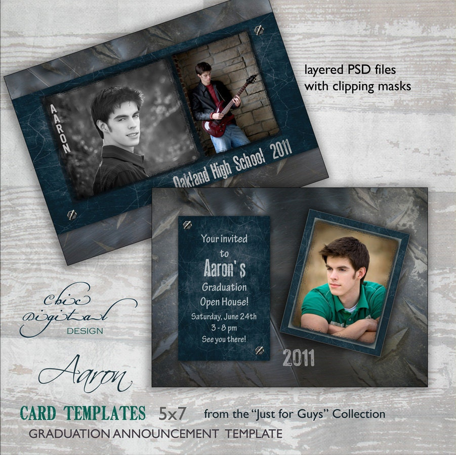Invitation Card Template Video: Graduation Announcement Card Template For Photographers 5x7