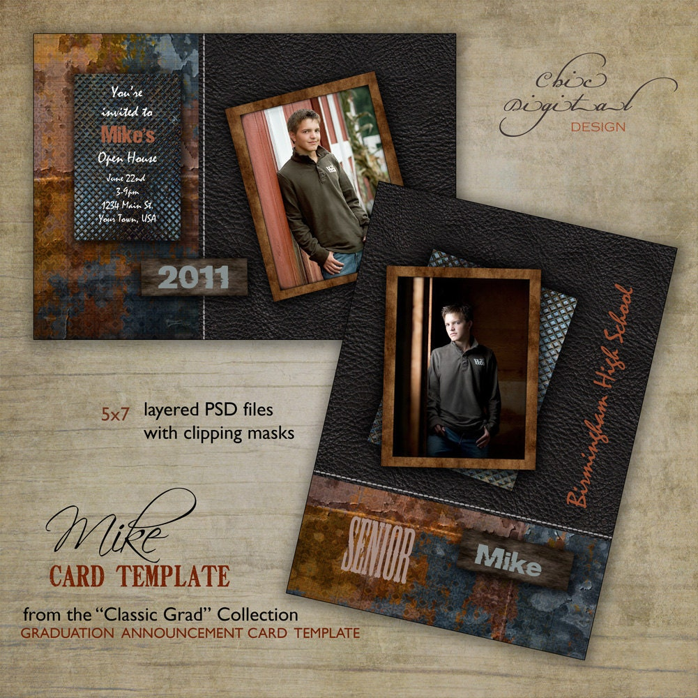 graduation announcement card template for photographers 5x7. Black Bedroom Furniture Sets. Home Design Ideas