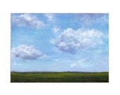 50% OFF  3 Framed Landscape Paintings Blue Sky Green Grass Triptych