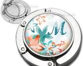 Personalized Retro Flowers Purse Hook Bag Hanger Lipstick Compact Mirror