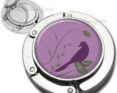 Spring Bird Silhouette and Branches Mauve Wine Green Leaves Purse Hook Bag Hanger Lipstick Compact Mirror