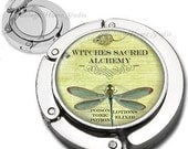 Poison and Potions Series Witches Sacred Alchemy with Dragonfly and Rat Foldable Purse Hook Bag Hanger Lipstick Compact Mirror