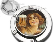 Beer Love Art Deco Girl Foldable Purse Hook Bag Hanger With Lipstick Compact Mirror