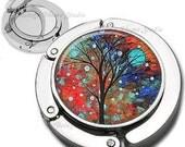 Teal Moon Whimsical Tree Series Purse Hook Bag Hanger Lipstick Compact Mirror