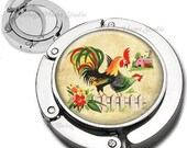 Country Roosters Farm Animals Purse Hook Bag Hanger Lipstick Compact Mirror