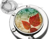 Fall Leaves Background Foldable Purse Hook Bag Hanger With Lipstick Compact Mirror