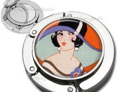 Art Deco Girl in Big Hat Foldable Purse Hook Bag Hanger With Lipstick Compact Mirror