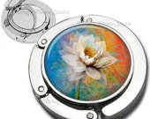 White Flower Floral Composition Foldable Purse Hook Bag Hanger With Lipstick Compact Mirror