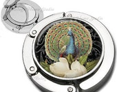 Vintage Peacock on Black Foldable Purse Hook Bag Hanger With Lipstick Compact Mirror