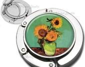 Van Gogh Three Sunflowers in a Vase Purse Hook Bag Hanger Lipstick Compact Mirror