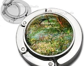 Van Gogh Banks of the Seine Foldable Purse Hook Bag Hanger With Lipstick Compact Mirror