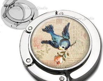 Bluebird Carrying Rose on Sepia Tinted Altered Background Purse Hook Bag Hanger Lipstick Compact Mirror