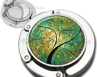 Whimsical GreenTree Purse Hook Bag Hanger Lipstick Compact Mirror